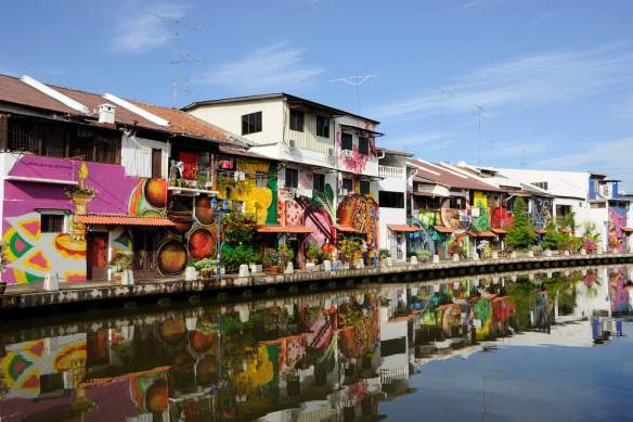 Painted houses on the River , Melaka, Malaysia,